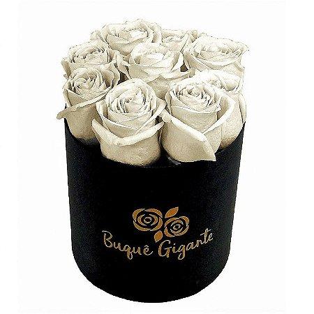 Exclusivo Box Rígido Negro c/ 9 Rosas Brancas Importadas