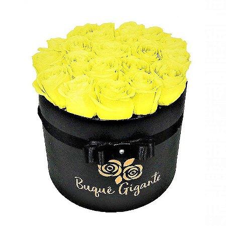 Exclusivo Box Rígido Negro c/ 25 Rosas Amarelas Importadas