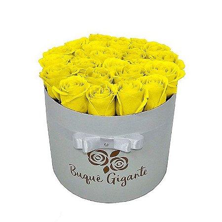 Exclusivo Box Rígido Branco c/ 25 Rosas Importadas cor Amarela