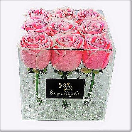 Exclusivo Box em Acrílico c/ 9 Rosas Importadas cor Rosa