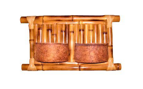 Vaso Artesanal de Parede Duplo - Bambu e Fibra de Coco - 50 x 25cm