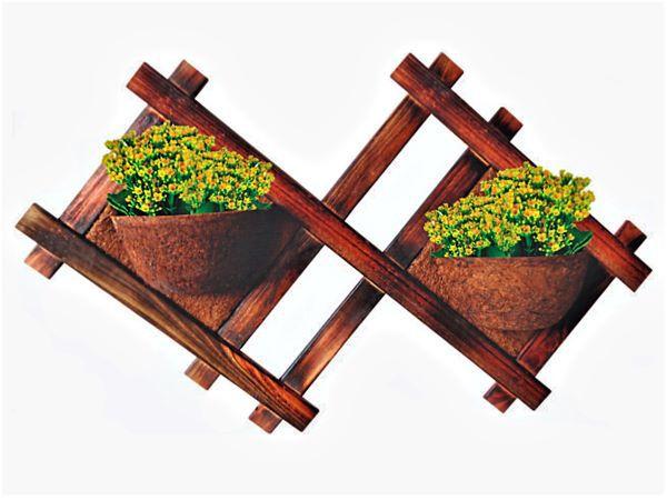 Vaso Artesanal Rústico de Parede Grande Duplo - Madeira e Fibra de Coco - 1,3m x 82cm