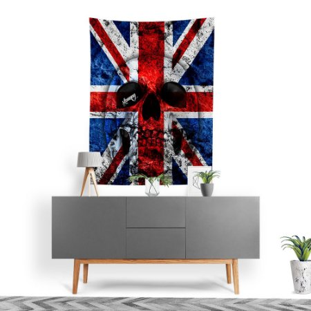 Stompy Tecido Decorativo Tactel UK Flag Skull