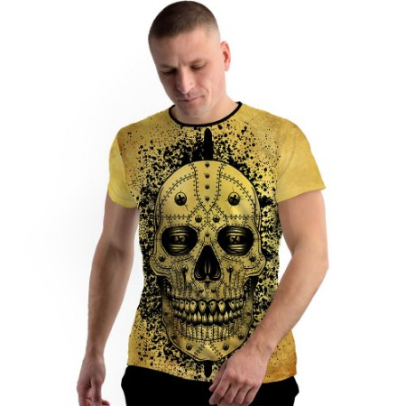 Stompy Camiseta Full Print Yellow Skull