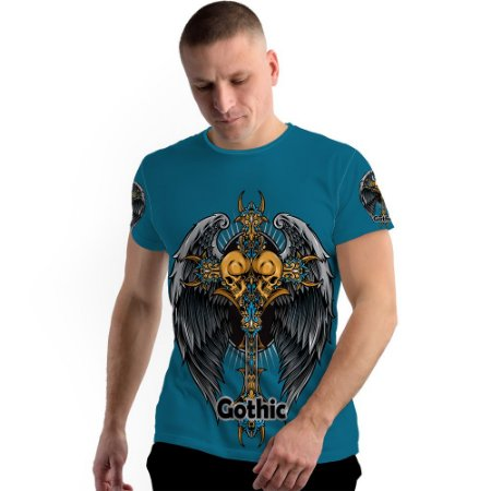 Stompy Camiseta Full Print Gothic Skull