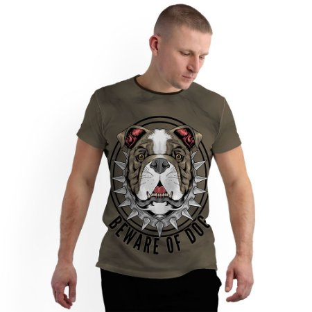 Stompy Camiseta Full Print Beware Of Dog
