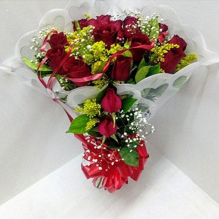 Buquê celofane branco 12 rosas