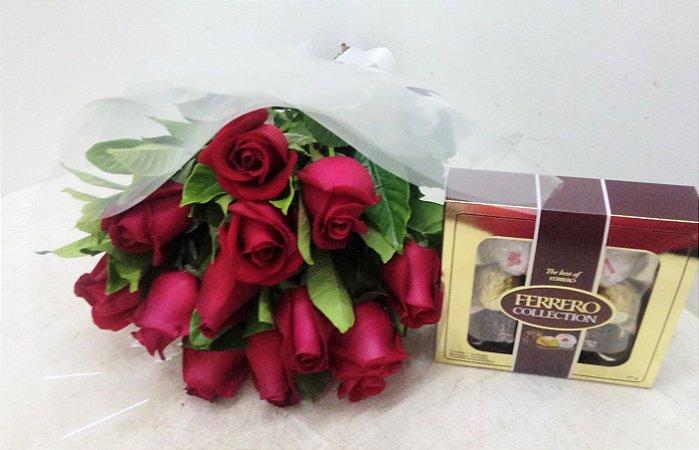 Buquê 12 rosas e ferrero collection