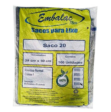 Saco de Lixo Preto 20lts Comum c/ 100 unidades - Embalac