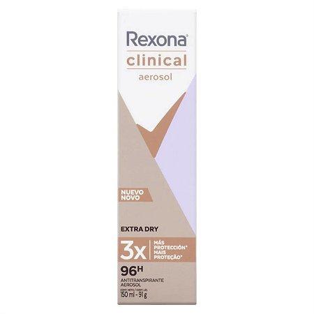 Desodorante Aerosol Rexona Clinical Feminino Extra Dry 150 ml - Desodorante Feminino Rexona