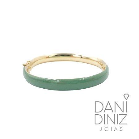 Bracelete esmaltado verde oliva Roberta