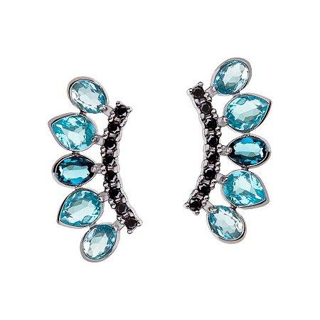 Ear cuff Mila com pedra Topázio London Azul