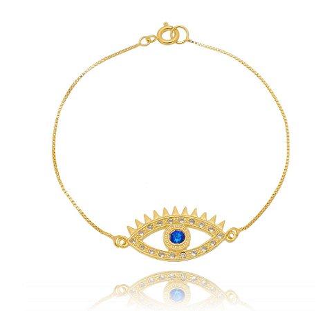Pulseira olho grego cravejado pedra azul Marcella