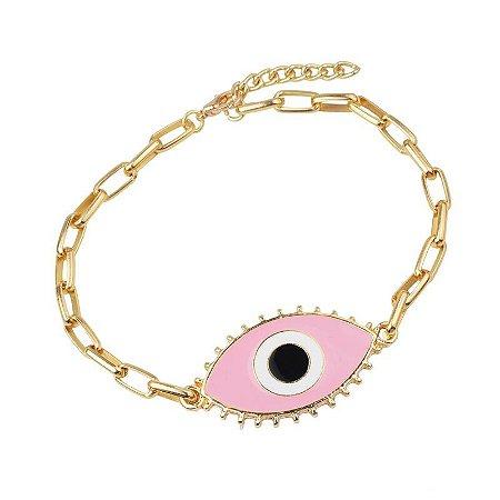 Pulseira Bruna, corrente com olho grego rosa