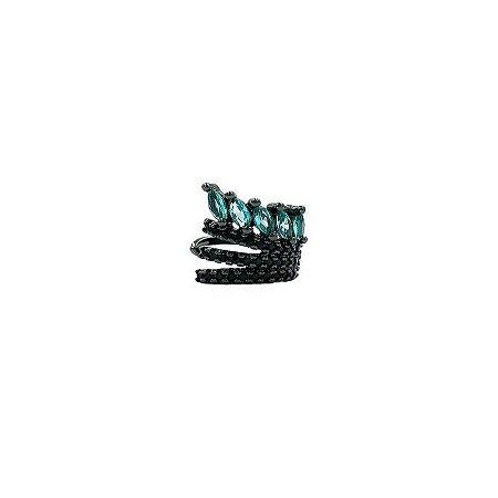 Piercing fake navetes top london blue e zircônias negras