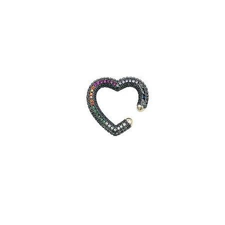 Piercing fake coração cravejado rainbow