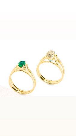 Anel dupla face verde esmeralda e cravejado