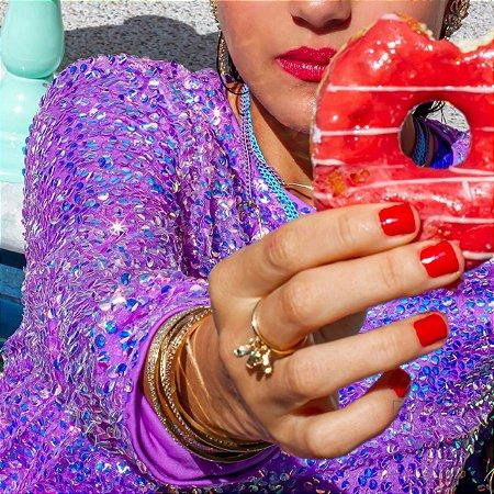 Anel cristais gotas candy colors