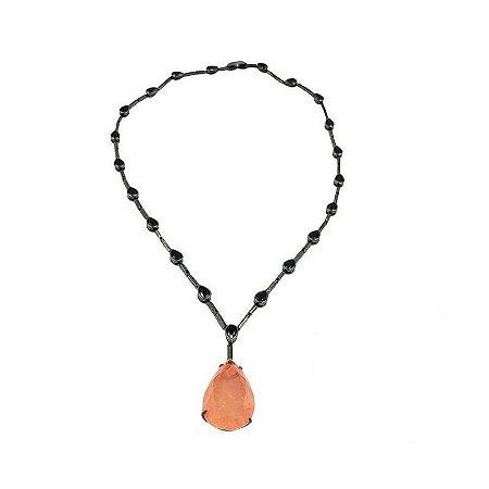 Colar cristais negros e pedra gota Fusion quartzo laranja