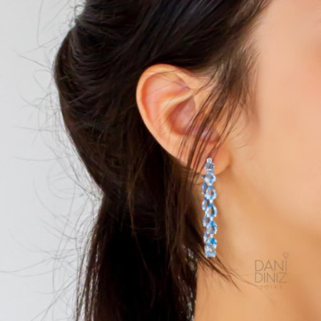 Argola gotas cristais azul