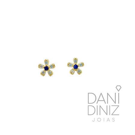 Brinco mini flor miolo azul Jade
