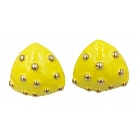 Brinco triângulo amarelo esferas Alice