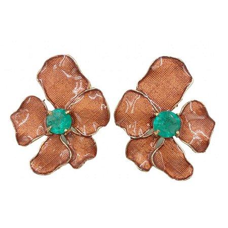 Brinco flor miolo esmeralda fusion Raissa