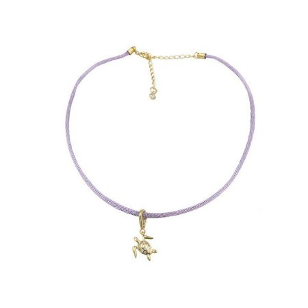 Choker cordão seda lilás pingente tartaruga