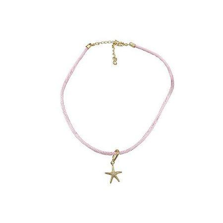 Choker cordão seda rosa pingente estrela do mar
