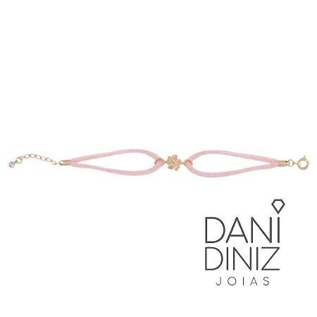 Pulseira cordão seda rosa flor