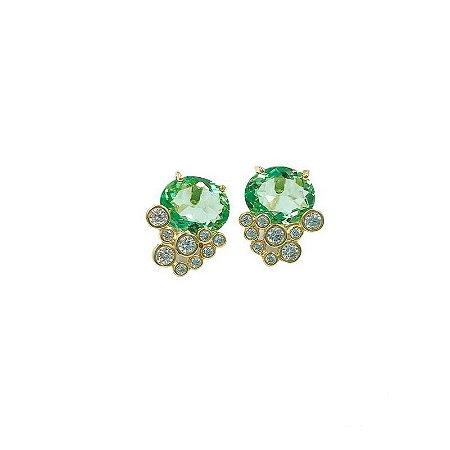 Brinco pedra Quartzo verde fusion e pontos de luz