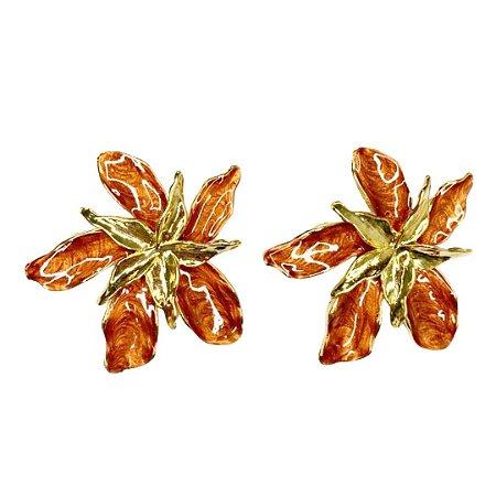 Brinco flor cobre esmaltado Mônica
