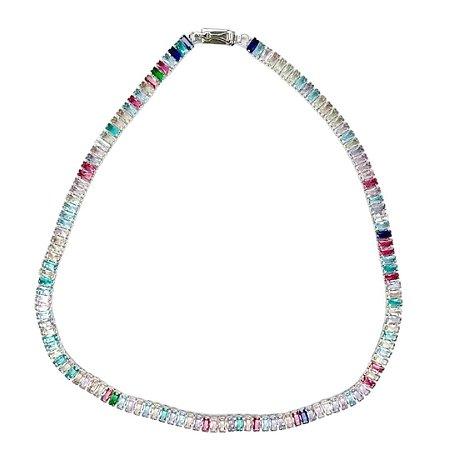 Colar Riviera cristais rainbow candy colors