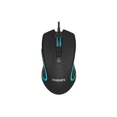 Mouse Para Jogo Philips Led 6400 Dpi 6 Botões Preto