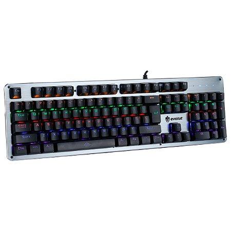 Teclado Mecânico Gamer EG208 Blacksmith Led RGB Evolut Blue ABNT2
