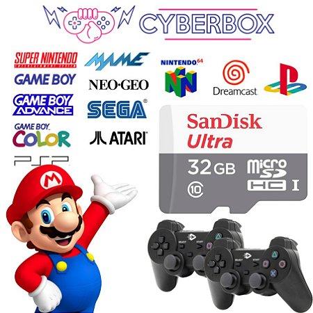 SISTEMA CYBER BOX VIDEO GAME RETRO MULTIJOGOS 32GB 2 CONTROLES C/ FIO