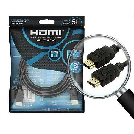 Cabo Hdmi 2.0 Blindado Ethernet 5m Pix