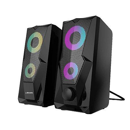 Caixa de Som Gamer Usb P2 Led RGB 6W Rms Lehmox GT-S3