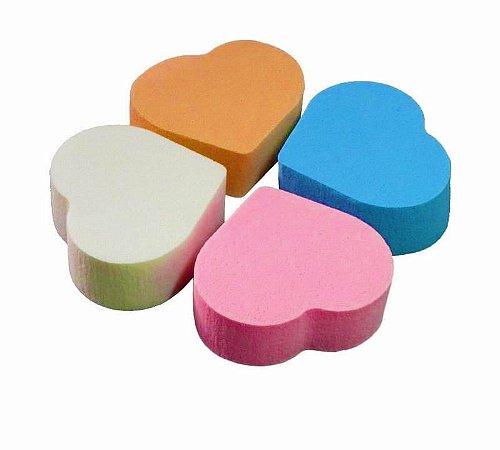 kit 4 esponja formato coraçao