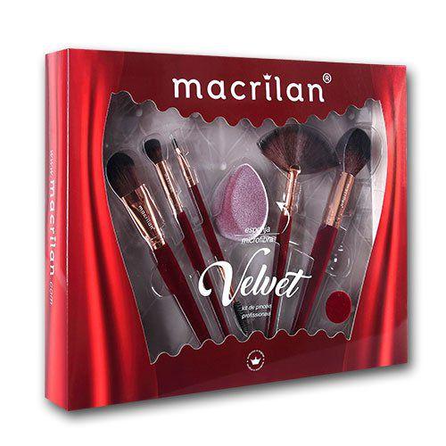 kit pincel macrilan velvet - vermelho