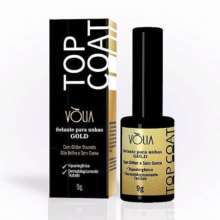 Top Coat Volia - Selante Para Unhas Gold Com Glitter Dourado
