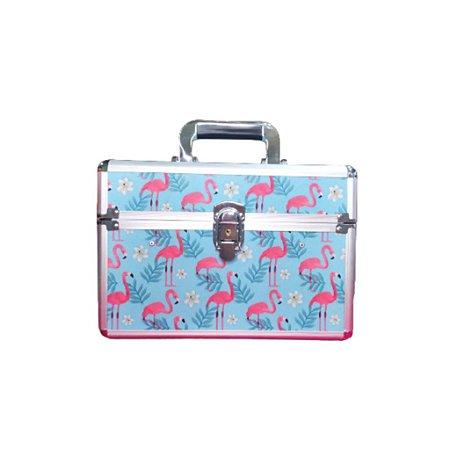 Maleta De Mão Estampada Azul Com Flamingos Rosas