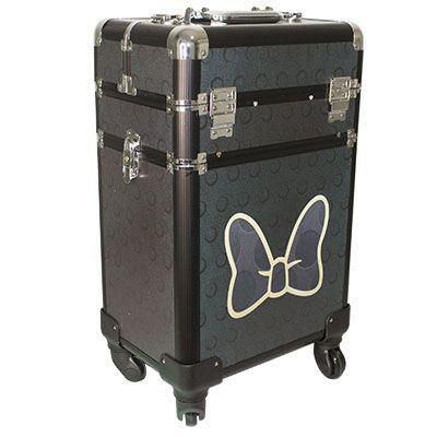Maleta Profissional De Rodinhas 2 Andares Minnie Mouse Preta Estampa de Laço ML 001C
