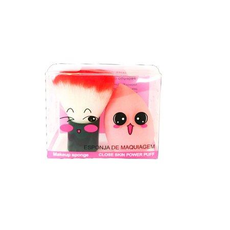 Duo de Esponja Com Pincel Kabuki *Cores Variadas*