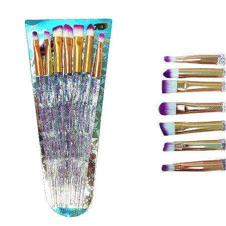 Kit de Pincéis Para Olhos 7 Peças Sally cores variadas