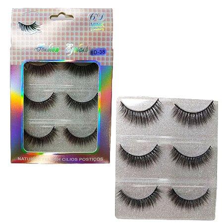 Cartela de Cílios fashion eyelashes 6D-38Com 3 Pares