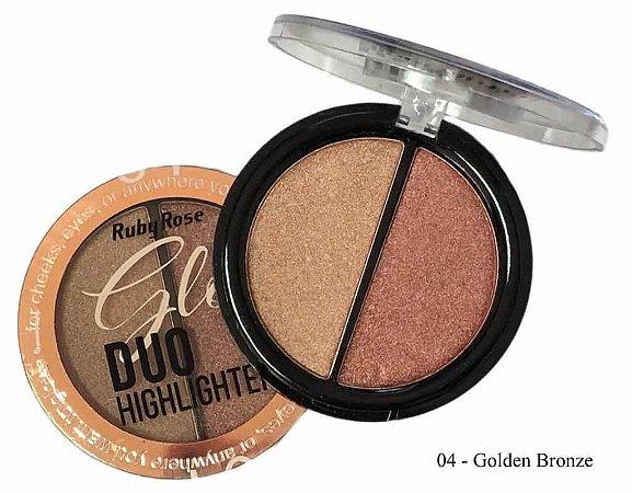 Iluminador Glow Duo Highlighter  Ruby Rose  -Cor 04 Golden Bronze