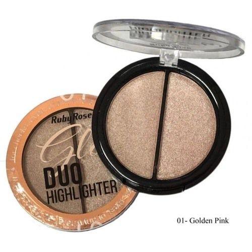 iluminador DUO HIGHLIGHTER GLOW - RUBY ROSE - 01 GOLDEN PINK
