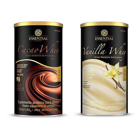Combo Cacao Whey 450g + Vanilla Whey 450 Essention Nutrition