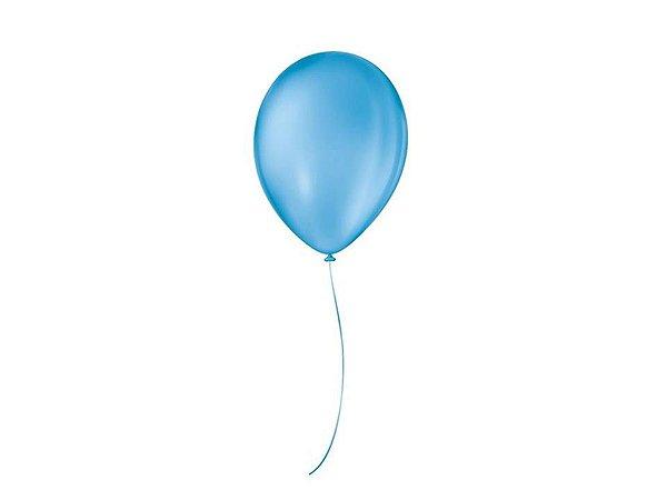 Balão liso nº9 Azul Turquesa com 50 unid.